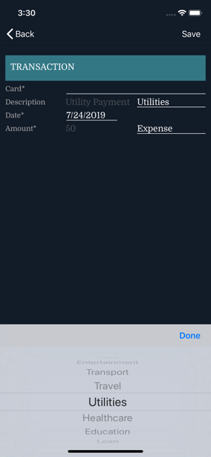 ‎Credit Card Expenses Manager Screenshot