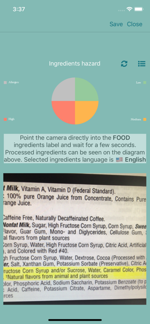 ‎Food Ingredients Scanner Screenshot
